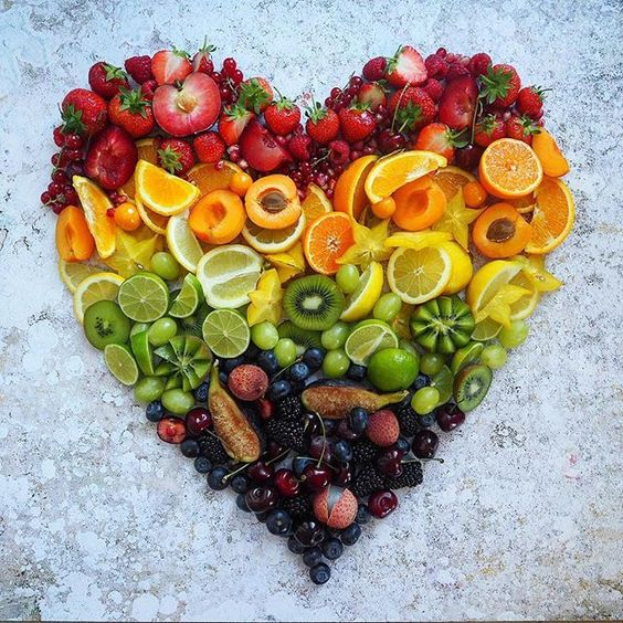 heart made of fruit and veg